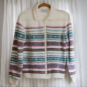 Alfred Dunner Zip Up Striped Chenille Sweater S